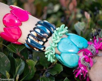 Tagua nut colorful bracelets /Sticks bracelets/ Bold cuffs/ Stretch bracelets/ Stackable bracelets/tagua nut/tagua jewelry/ Ecojewels