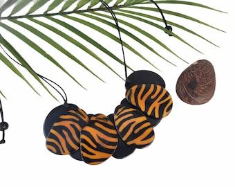 Tiger print statement necklace/Tiger necklace/Animal print tagua necklace/Cougar necklace/ African tribal necklace/Safari tiger necklace