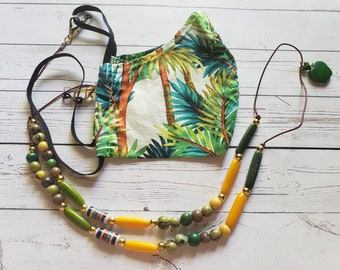 Facemask & readers holder/Tagua tropical beaded mask holder necklace/FaceMask keeper/3 in 1 necklace, mask sunglasses holder lanyard