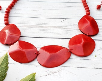 Faceted ovals blue  tagua statement necklace set  /geometric necklace/ minimalist by ALLIE
