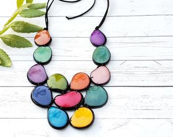 Blue Moon Tagua nut bib necklace/statement necklace/brides jewelry/bold jewelry/red necklace/yellow necklace/ jade tagua necklace