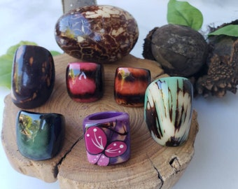 Tagua nut SIZE 7.5 Rings/ Hanpainted rings/ ethnic rings /Rustic nut rings /Batik ethnic tribal rings/Statement bold rings/ecofriendly rings