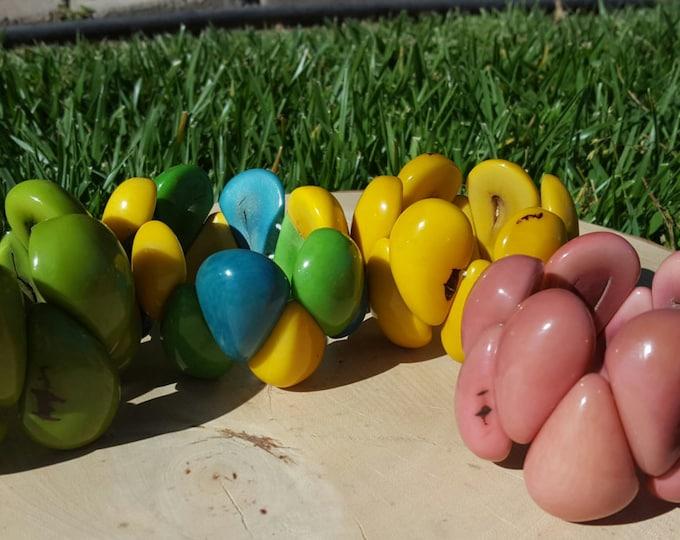 Tagua nut chunky bracelet  tear drops colorful / spring bracelet/summer bracelet/STRETCH BRACELET