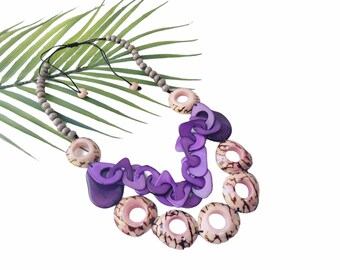 Chain and rings Tagua Pink necklace/Statement chunky wooden beaded  necklace/Boho  handmade necklace/Ecofriendly jewelry