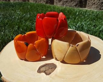 Triangle shaped tagua bracelet/geometric bracelet/solid colors/ ecofriendly/tagua jewelry/tagua bracelet/summer bracelets/tagua cuff