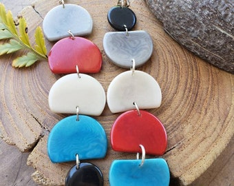 Dangling long asymetrical earrings/Tagua geometric earrings/ Colorful Earrings/ Color Block earrings/Mother's day gift/Statement earrings/