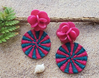 Straw Disks big tagua earrings/ Trendy straw rattan earrings/Summer earrings/Mixed media earrings/Palm leaves woven toquilla earrings