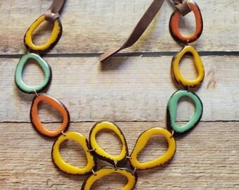 Bib Tagua necklace /Eco handmade jewelry/Statement necklace/Organic jewelry by Allie/ Rainbow jewelry/Gift ideas for her/ Spring jewelry