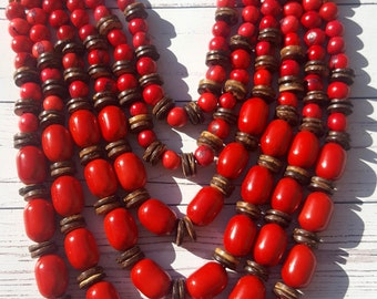 As seen on the Runway /long layered red tagua necklace/beaded necklace/ chunky necklace/statement necklace by Allie