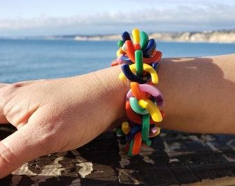 Rainbow Bracelet/ Tagua bracelet/ Statement Bracelets/ C shape bracelet/ Chunky funky beaded Bracelets/ Beach bracelets/ Tropical bracelets