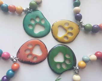 Paw Jewelry/ Paw tagua bracelets/Pet memorial/ Dog or Cat lovers gift ideas/Over the rainbow jewelry/bracelets for a cause/Pet parents gift