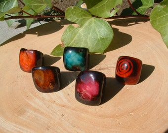Tagua RINGS size 5.5 Glossy stone look
