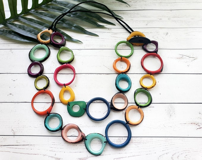 Featured listing image: TAGUA multicolor super long rings Necklace/ Rainbow layers tagua necklace /Colorful Double wear 2 in one necklace / Statement necklace/