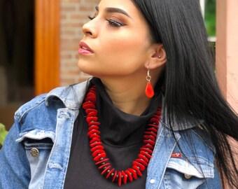 Tagua Chunky red black necklace/ Teal aqua necklace/ Blue chunky necklace/Statement necklace/ Hawaiian/Petals Islander jewelry/Tiki necklace