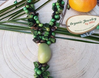 Green Ecofriendly long necklace/ Tagua and coconut Necklace/ Bohemian necklace/ Natural organic jewelry/Handmade necklace/Crochet necklace
