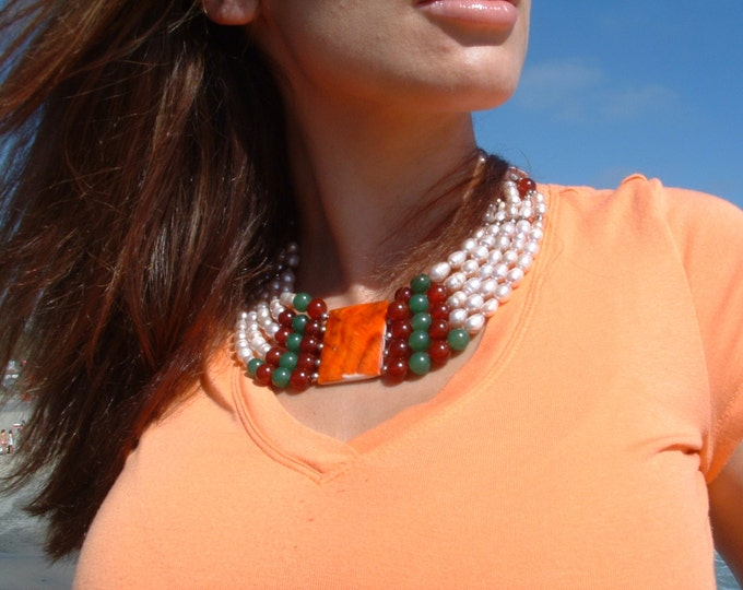 Spiney oyster medallion reversible necklace /pearls necklace/collar necklace/ bib necklace/ mothers day gift/statement necklace
