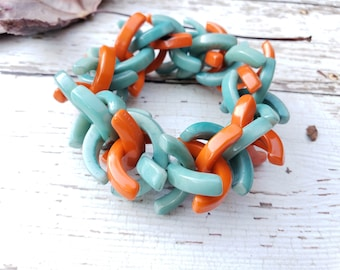 Beaded tagua bracelets/Colorful chunky bracelet/  Bold bracelets/ Statement stretch bracelet/Eco friendly Bracelets/ Boho bracelets