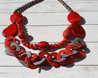 Chain & ball, chained tagua necklace/ red necklace/pink  necklace/statement necklace by ALLIE