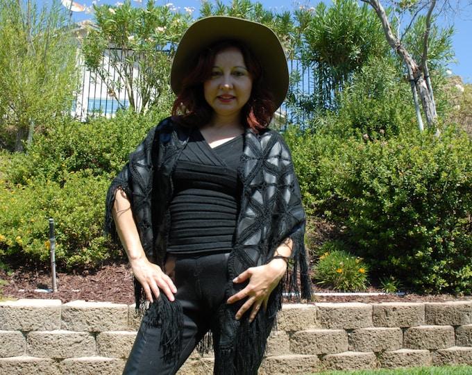70S Vintage leather crochet shawl  handmade spanish or Western style O/S Black