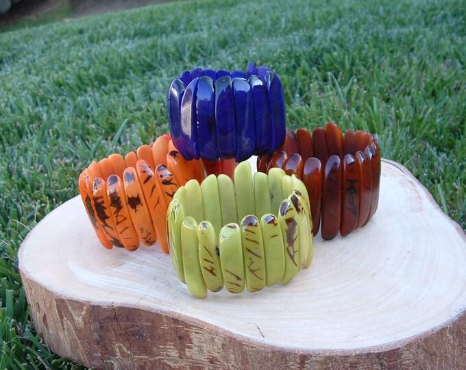 PalitosTagua nut glossy bracelets stick shaped many colors/tagua nut/tagua jewelry