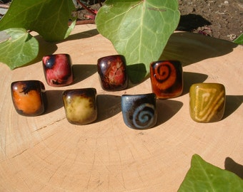 Tagua RINGS size 6.5/ Rustic nut Rings/ Bold chunky Rings/ Statement Ring/ Ethnic Rings/ Glossy Ring/ Statement RING/ Big ring