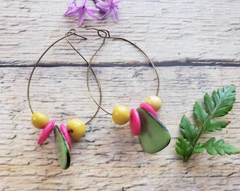 Wire wrap Tagua earring/Eco Friendly Earrings/Large hoop earrings/Hoops dainty earrings/ Tagua petals earrings
