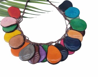 Rainbow statement tagua necklace/Multicolor slices overlapping ecofriendly necklace/Ecofriendly rainforest tagua necklace/ Ethical jewelry