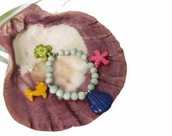 Marine life bracelet/ Rainbow sea life bracelet/ Ocean charms tagua bracelet/Beach bracelet/ Beach Jewelry