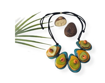Multicolor layers of slices tagua nut necklace/Organic funky jewelry / Fruity jewel/Gifts for mom/Eco friendly jewelry/Slow ethical jewelry