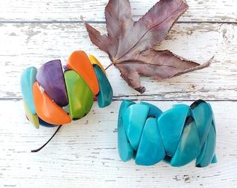 Geometric bracelet/Stretchy bracelet/ Vintage style bracelet/Bold Tagua bracelets/ Stackable bracelets/Rainbow bracelet / Turquoise Bracelet
