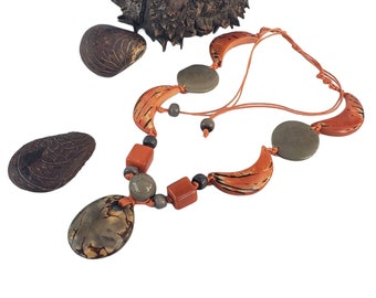 Tagua medallion necklace/ Blue boho Necklace/0range necklace/ red necklace/ Green necklace/ Bohemian Chic/ Eco friendly wooden jewelry