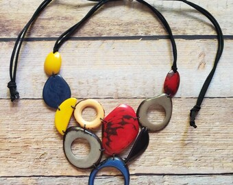 Bib necklace/ Statement necklace/Blue bib/jewelry eco bib/jewelry tagua/ Handmade Eco friendly Jewelry