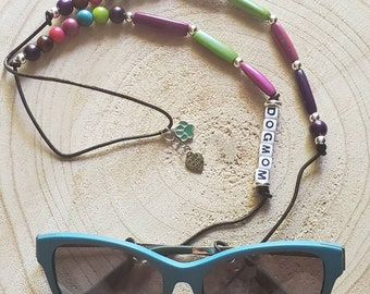 Personalized Sunglasses or readers holder for dog lovers/Dog mom gifts/Chain for eye glasses/Tagua Dog mom eye glasses holder/
