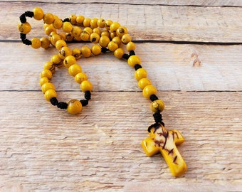 Tagua cross rosary by Allie/catholic rosary/religious jewelry/christian jewelry/tagua nut