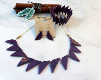 SHOWGIRL Tagua and gold triangles tagua 3 pc set necklace bracelet and earrings by Allie many colors/ statement necklace