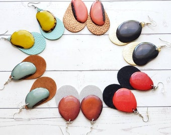 Colorful Dangle Earrings/ Tagua & Leather Earrings/Drop Earrings/Long earrings/Boho earrings/Color block  contrast earrings/Organic earrings