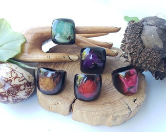 Tagua nut SIZE 9 Rings/ Hanpainted rings/ ethnic rings /Rustic nut rings /Batik ethnic tribal rings/Statement bold rings/ecofriendly rings