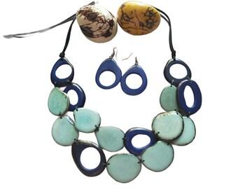 Bold & Playful layered tagua aqua blue necklace/Statement Long blue necklace/chunky necklace/fashion jewelry/handmade jewelry/ beach jewelry