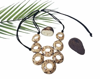 Infinity rings ivory nut necklace/  White bib necklace/ Statement necklace/ Ecofriendly Ethical beads wooden necklace/Slow fashion jewelry