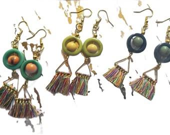 Geometric tagua&Tassel Earrings / Multicolor Tassel Earrings/ Statement Earrings/Teal tagua earrings/Bohemian earrings/ Eco jewelry earrings
