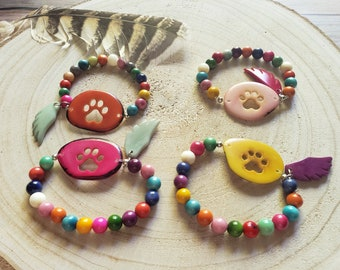 Paw Jewelry/ Paw tagua bracelets/Pet memorial/ Dog lovers gift ideas/Over the rainbow jewelry/bracelets for a cause/charity gifts/by ALLIE