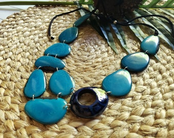 Turquoise Tagua necklace/ Bib necklace/Blue Tiger donut necklace/ Statement necklace/ Eco jewelry/ Gifts for her/ Organic jewelry/by Allie