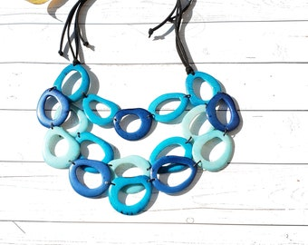 Tagua Aqua blue necklace/ Rainbow Necklace/ Layered tagua long necklace/ Beach jewelry/ Statement necklace/ by Allie/Eco friendly jewelry