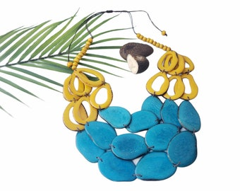 Super bold layered tagua necklace/Rings and slices statement turquoise necklace/ Colorful tagua necklace/Caribbean green Tagua necklace/