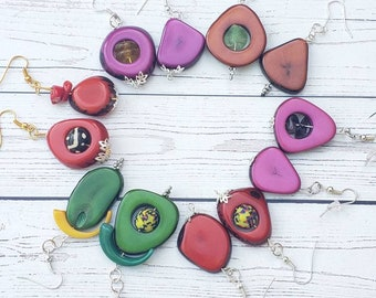 Mistmached Colorful Dangle Earrings/ Tagua slices Earrings / Ethnic Boho Earrings/Eco Friendly Earrings/ Everyday Earrings/ Drop earrings