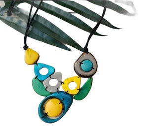 Tagua Asymmetrical Minimal bib necklace/ Ehical ecofriendly handmade jewelry/Rainforest Colors necklace/ Greens bib necklace/Gifts for mom
