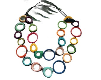 TAGUA multicolor super long rings Necklace/ Rainbow layers tagua necklace /Colorful Double wear 2 in one necklace / Statement necklace/