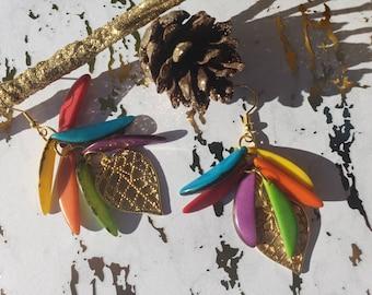 Leaf long tagua dangle earrings/Cluster chandellier rainbow earrings/Tagua gold earrings/Boho earrings/Ecofriendly handmade earrings