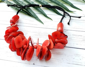 Maui Tagua Red chunky statement necklace/Mothers day gifts/ Hawaiian Jewelry/Jewelry sets/ Tropical jewelry