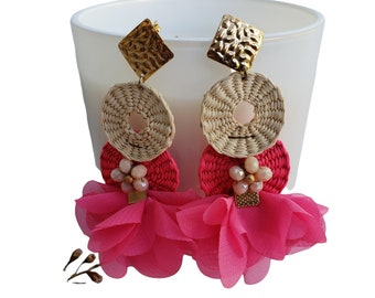 Statement rattan gold and fabric tropical delicate OOAK artistic earrings, ballerina skirt earrings Fuchsia /Eco friendly slow made jewel